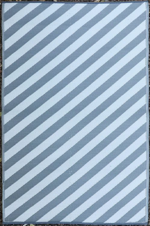 Diagonals   Gray & White Area Rug