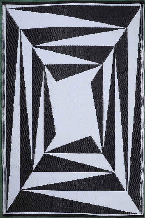 Deep Mirror White Black Area Rug