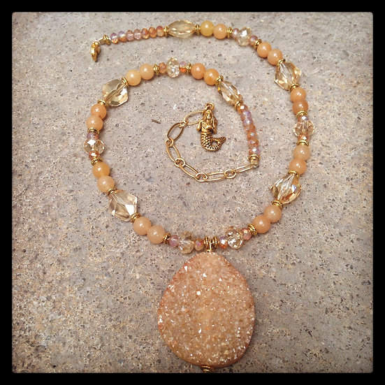 Golden Jade Mermaid Bling Necklace
