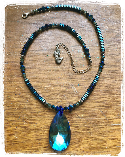 Electric Blue Mermaid Bling Necklace