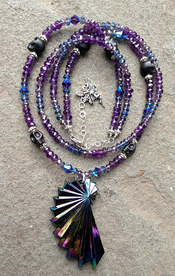 Amethyst Spiral Fairy Bling Necklace