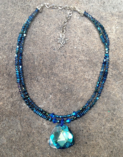 Double Electric Blue Fairy Bling Necklace