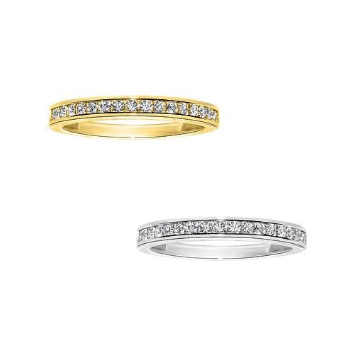 14k Yellow or White Gold 1/5ct TGW Round-cut Diamonette Channel-Set Wedding Band