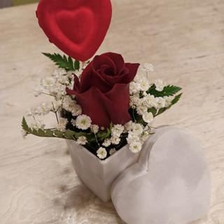 Rosa, Gypsophila, Felce e Cuore - scata a forma di cuore in velluto bianco