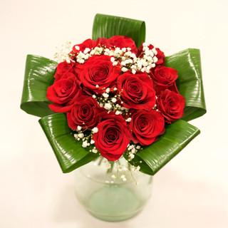 Rose rosse e Aspidistra