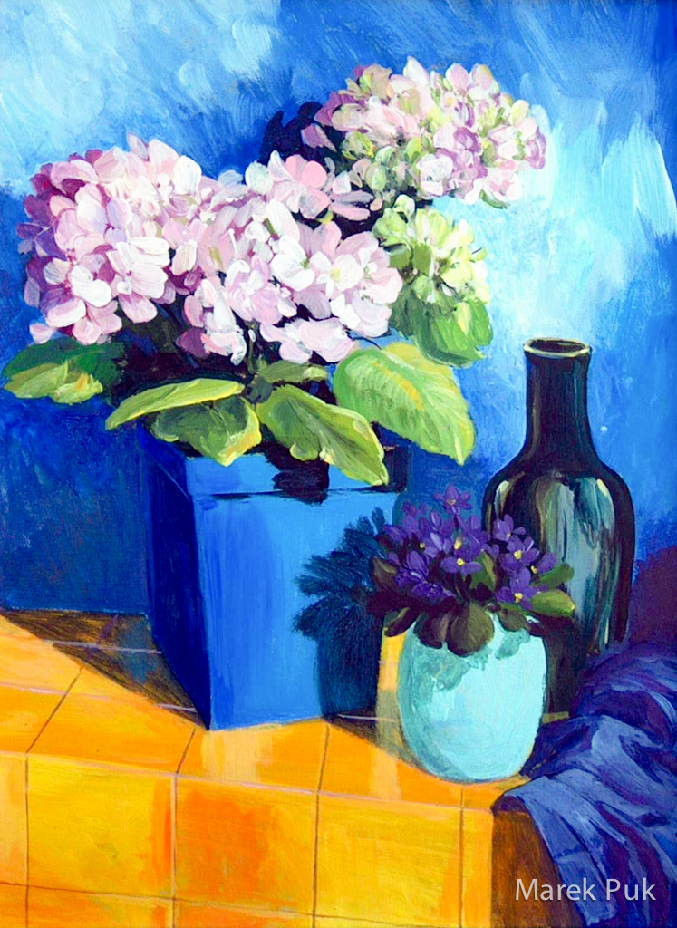 Rosa Hortensien in blauer Umgebung