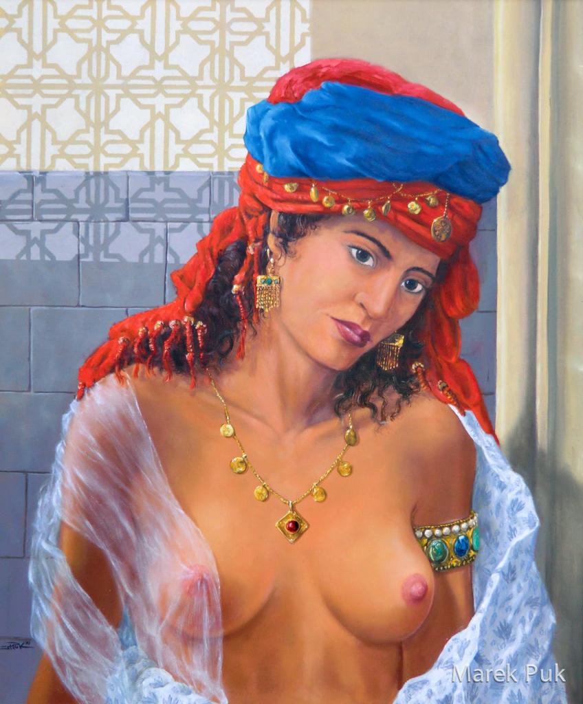 Orientalin mit Turban und Goldschmuck mit nackter Brust, Öl-Lw
