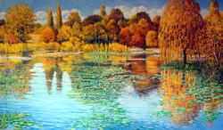 Herbstliche Seenlandschaft-Oel-Leinwand-