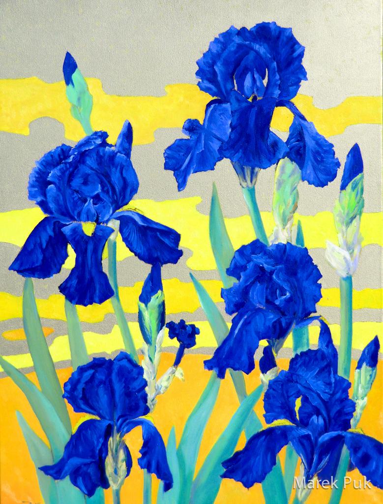 Dunkelblaue Iris vor Goldgrund