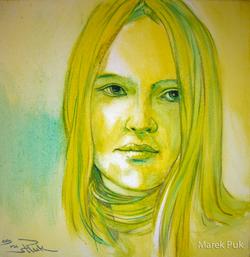 Porträt in Gelb-Grün