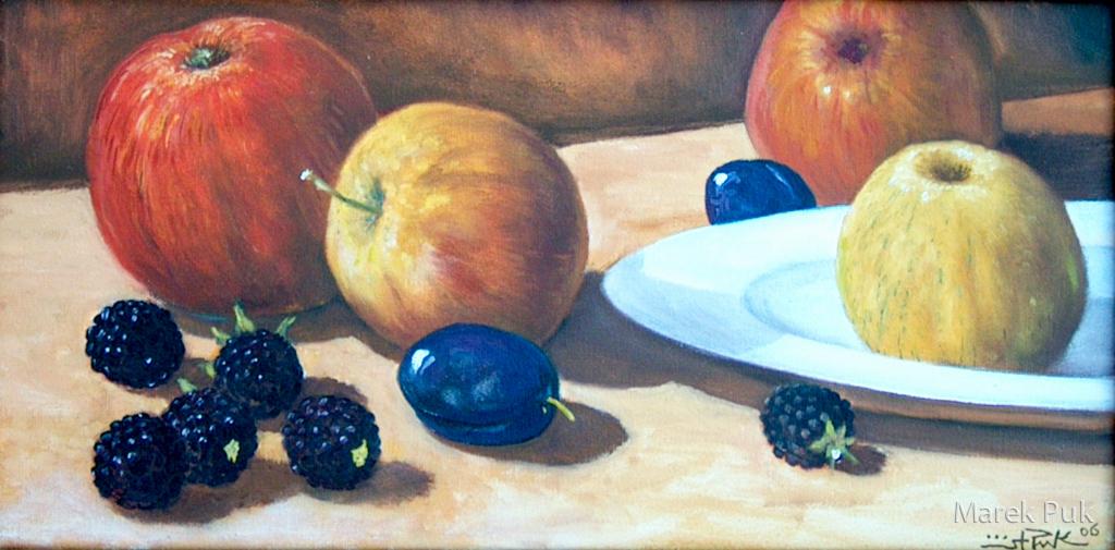 Obststillleben mit Äpfeln und Pflaum
