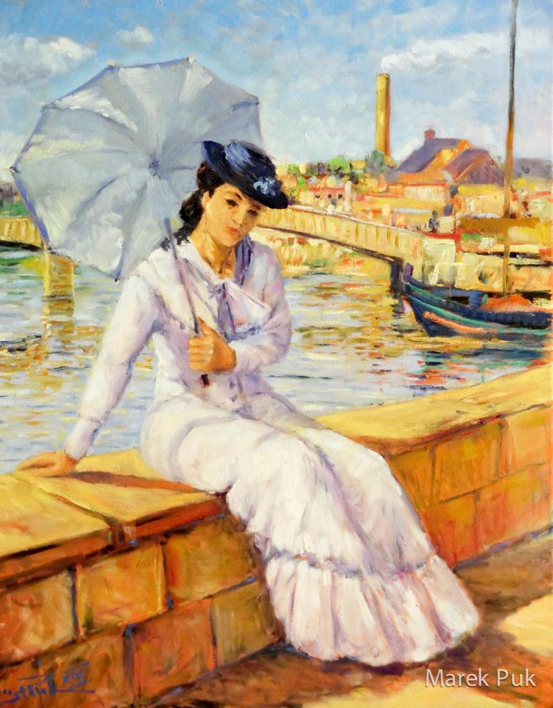 Frau mit Sonnenschirm am Fluß