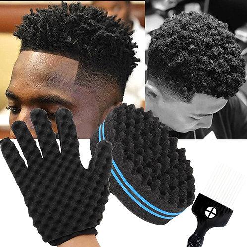 Barber Shop Hair Twist Sponge Gloves