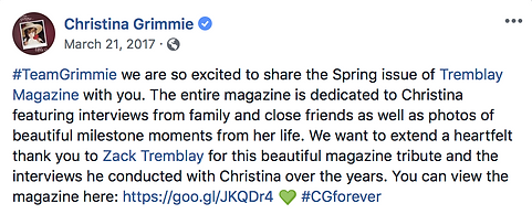 Christina Grimmie Note