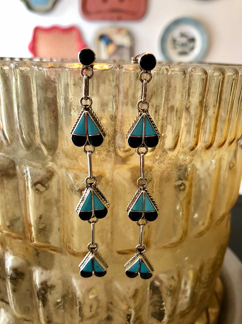 Turquoise and Jet Heart Drop Earrings
