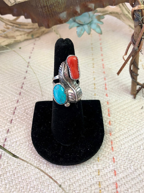 Turquoise and Coral Navajo Ring