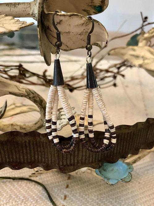 Brown and White HeiShi Earrings