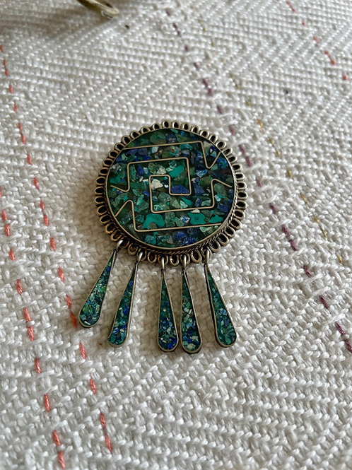 Turquoise Inlaid Pin/Pendant