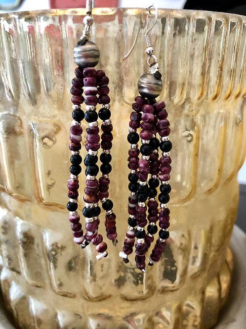 Purple Spiny Tassel Earrings