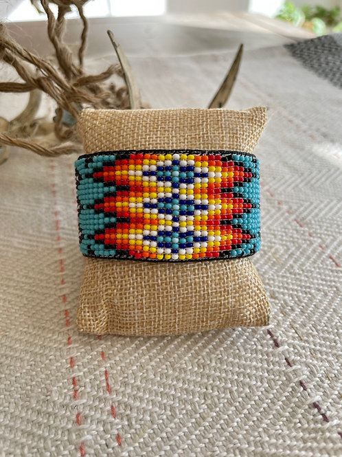 Leather Lined Turquoise Beaded Cuff