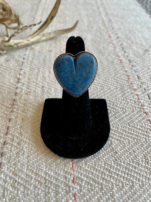 Denim Lapis Heart Ring