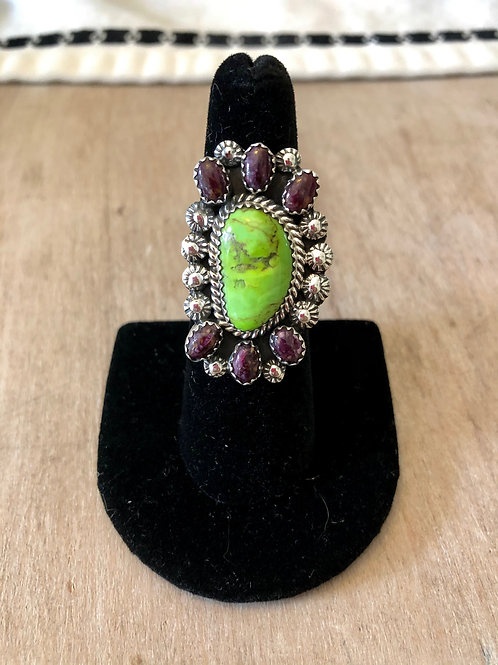Purple Spiny and Pixie Mine Turquoise Ring