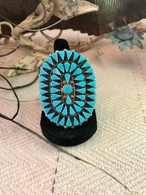 Zuni Polished Turquoise Ring