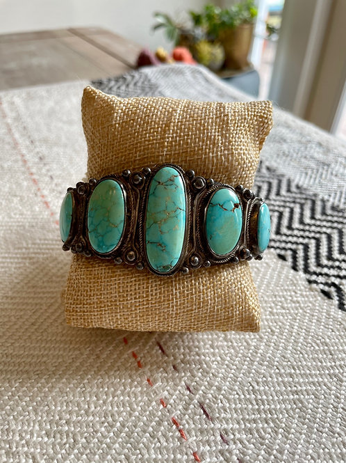 Heavy Turquoise and Silver Cuff
