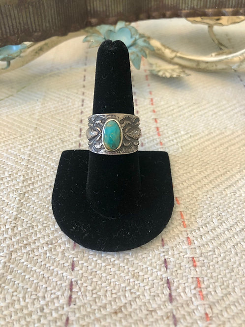 Ladies Cigar Band with Round Turquoise