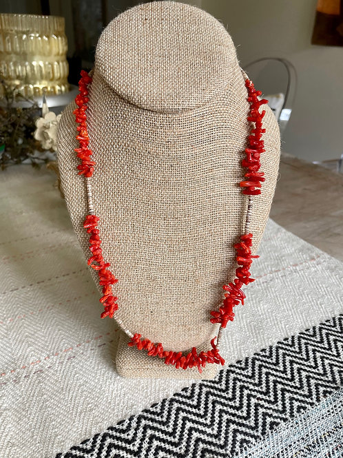 Branch Coral and HeiShi Bead Neckalce