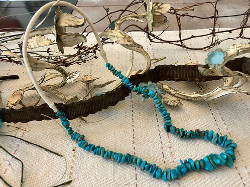 Natural Turquoise Squaw Wrapped Necklace