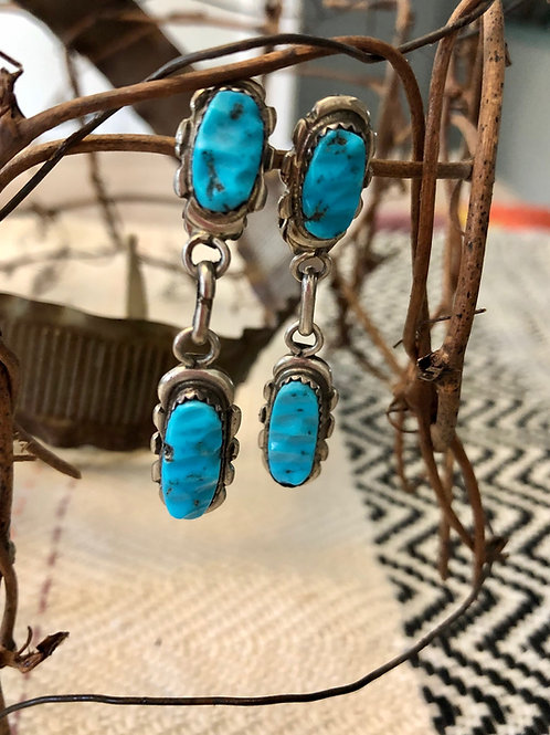 Vintage Turquoise Clip-On Dangle Earrings