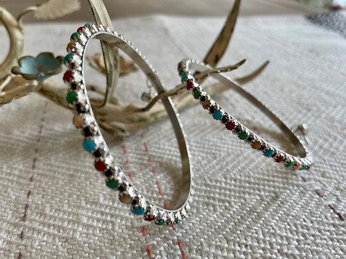 Multi-Colored Large Hoop Earrings