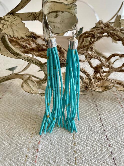 Beaded Turquoise Tassel Earrings