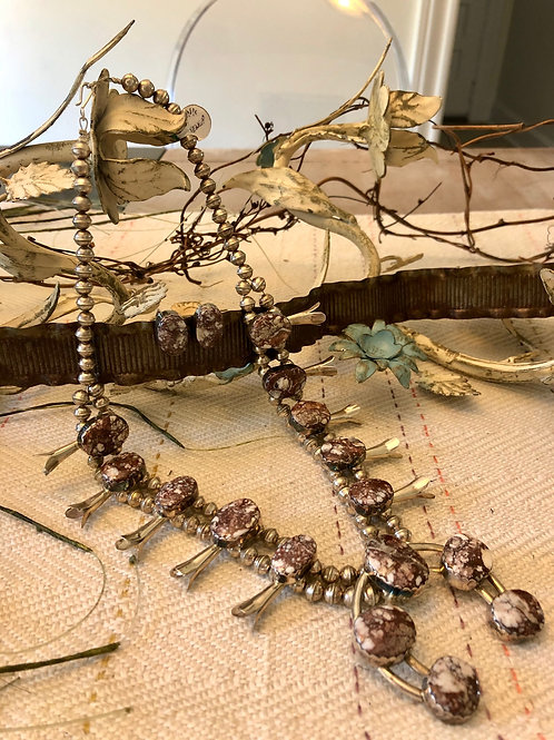 White Buffalo Squash Blossom Necklace