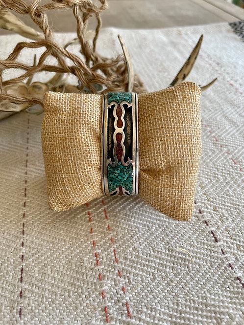 Chip Inlay Peyote Bird Cuff Bracelet