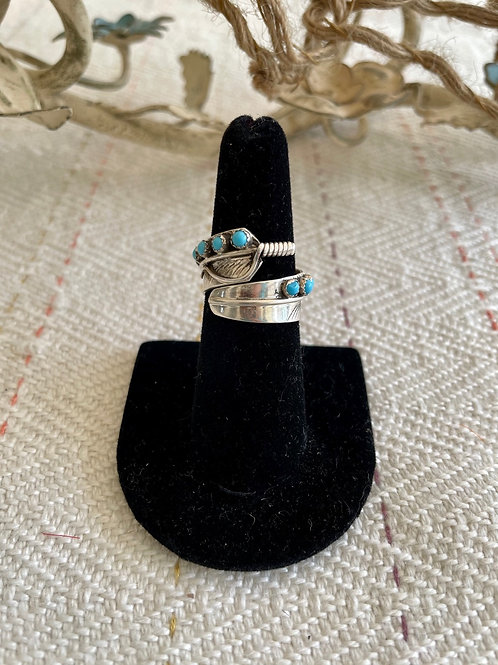 Adjustable Turquoise Feather Ring