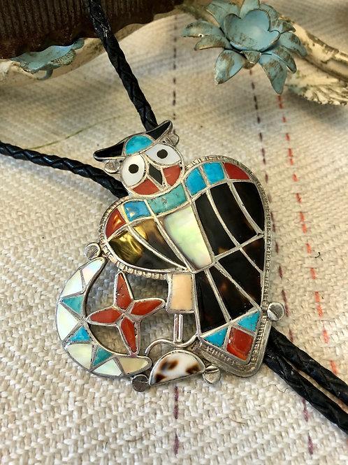 Vintage Inlaid Owl Bolo Tie