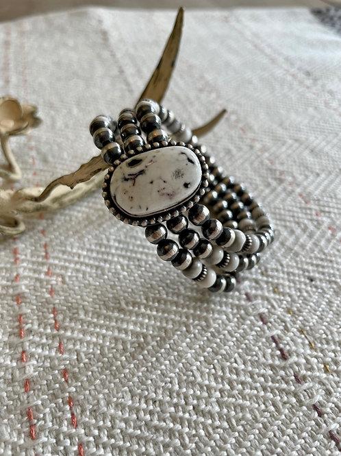 Stretchy Navajo Pearl Bracelets with White Buffalo