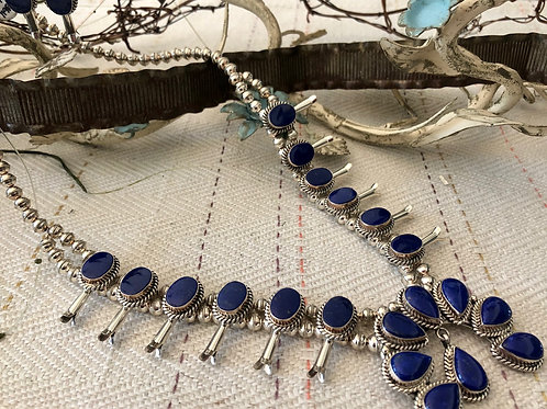 Lapis Squash Blossom Necklace