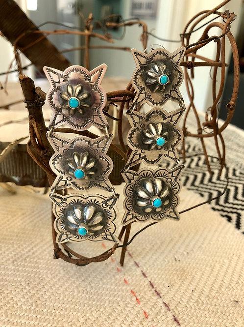 Three Tier Concho Earrings