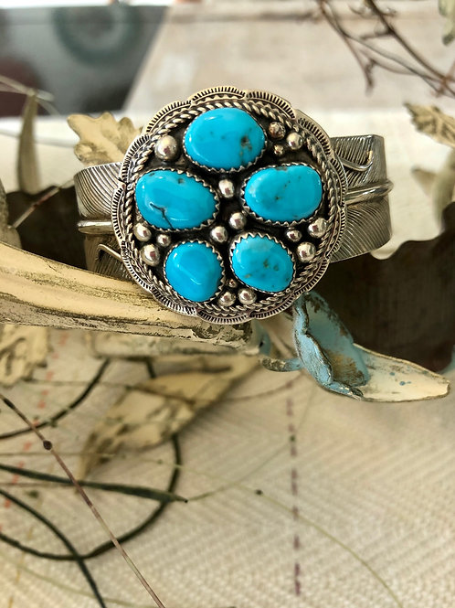 Turquoise and Sterling Silver Feather Cuff