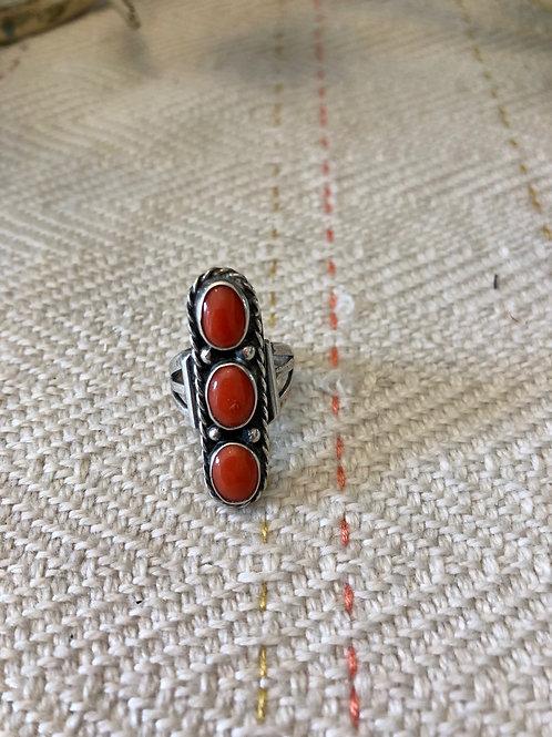 Vintage Oblong Coral Ring