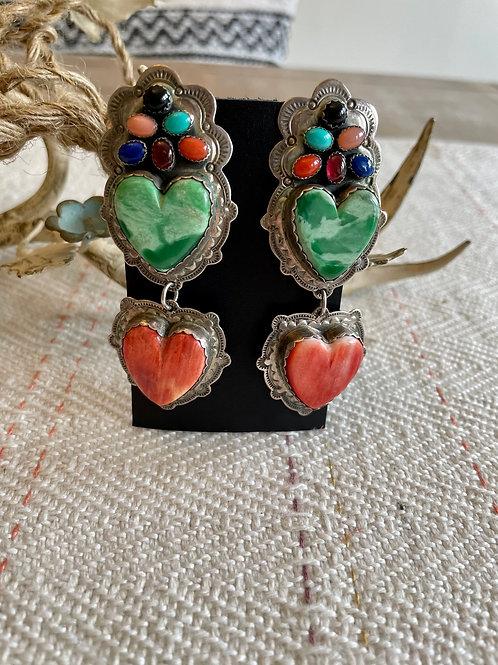 Jennifer Begay Multi-Stone, Spiny Heart-Shaped Earrings