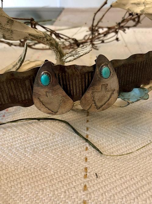 Vintage Arrowhead and Turquoise Earrings