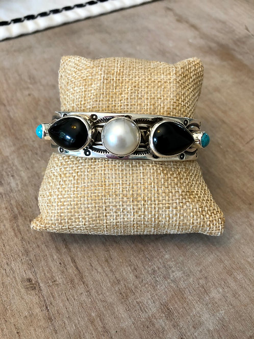 Pearl, Onyx and Turquoise Cuff
