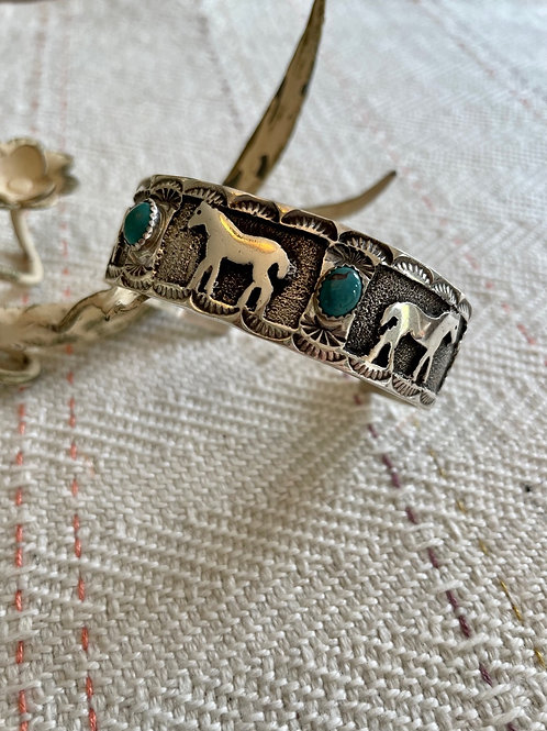 Turquoise and Sterling Horse Cuff Bracelet