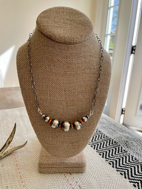 Navajo Pearl and Orange Spiny Bar Necklace