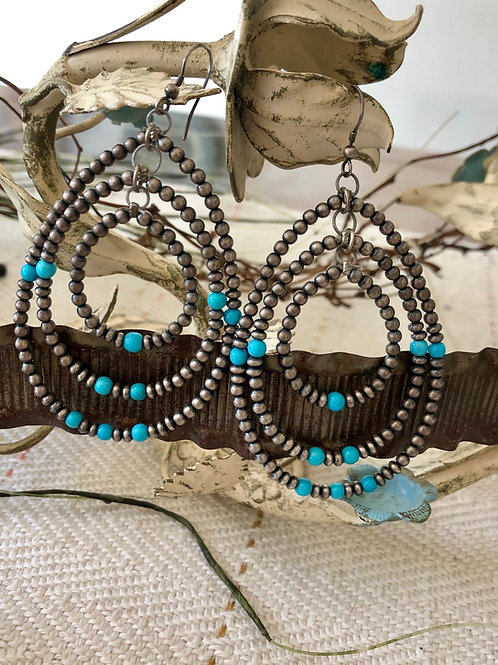 Triple Loop Navajo Pearl and Turquoise Earrings