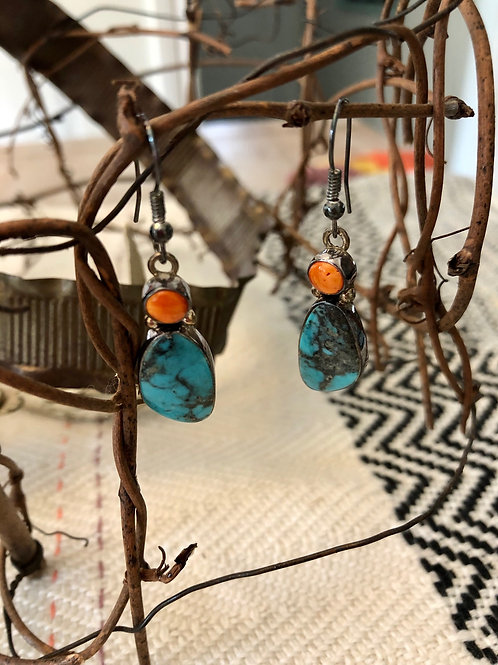 Turquoise and Spiny Orange Earrings
